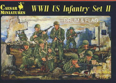 CAESAR 71 - WWII US INFANTRY II 1/72 SCALE X 34 PLASTIC FIGURES. WW2 AMERICANS.