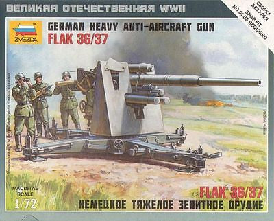 ZVEZDA 6158 WW2 GERMAN 88MM HEAVY ANTI-AIRCRAFT GUN - FLAK 36/37. 1/72 SCALE