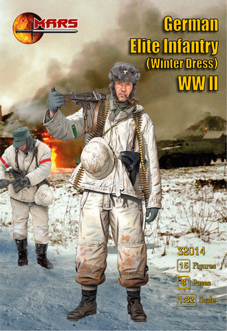 Mars 32014. German Elite Infantry Winter Dress WWII. Plastic 1/32 Scale Figures