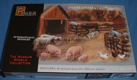 PEGASUS 7006. FARM ANIMALS. 1:48 SCALE. Usable with 28mm figures. Cows, Pigs etc