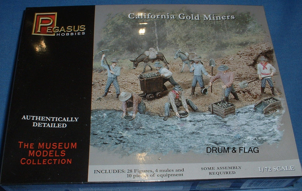 PEGASUS 7050. CALIFORNIA GOLD MINERS. 1/72 Scale Plastic Figures