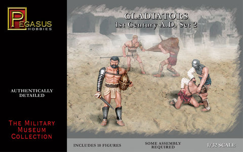 PEGASUS 3202 GLADIATORS SET 2. 1/32 SCALE 54MM PLASTIC. ROMAN GLADIATOR.