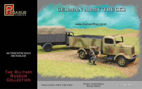 PEGASUS 7610. GERMAN ARMY TRUCKS. WW2.  1/72 SCALE. SET INCLUDES 2 X TRUCK