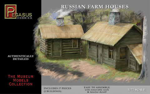 PEGASUS 7702. WW2 RUSSIAN FARM HOUSES. 1:72 SCALE PLASTIC