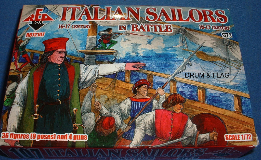 REDBOX 72107 ITALIAN SAILORS IN BATTLE SET 3 16-17th Century 1:72 SCALE