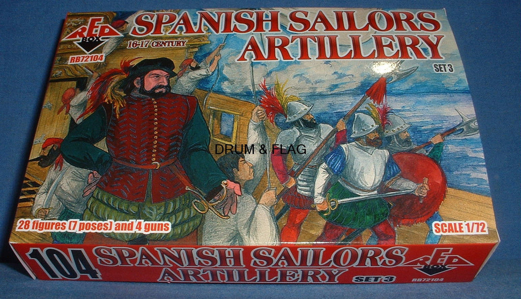 REDBOX 72104 SPANISH SAILORS ARTILLERY SET 3 16-17th Century 1:72 SCALE