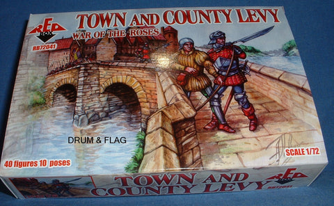 REDBOX SET 72041 - TOWN & COUNTRY LEVY - WAR OF THE ROSES - 1/72 SCALE
