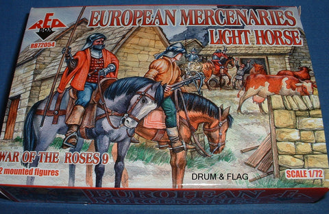 REDBOX 72054 EUROPEAN MERCENARIES LIGHT HORSE. WARS OF THE ROSES. 1:72 SCALE