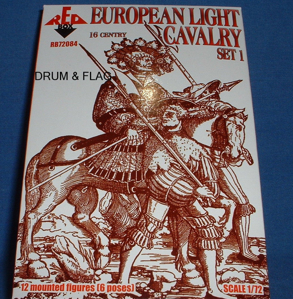 REDBOX 72084 EUROPEAN LIGHT CAVALRY SET 1. 16th Century. 1:72 SCALE