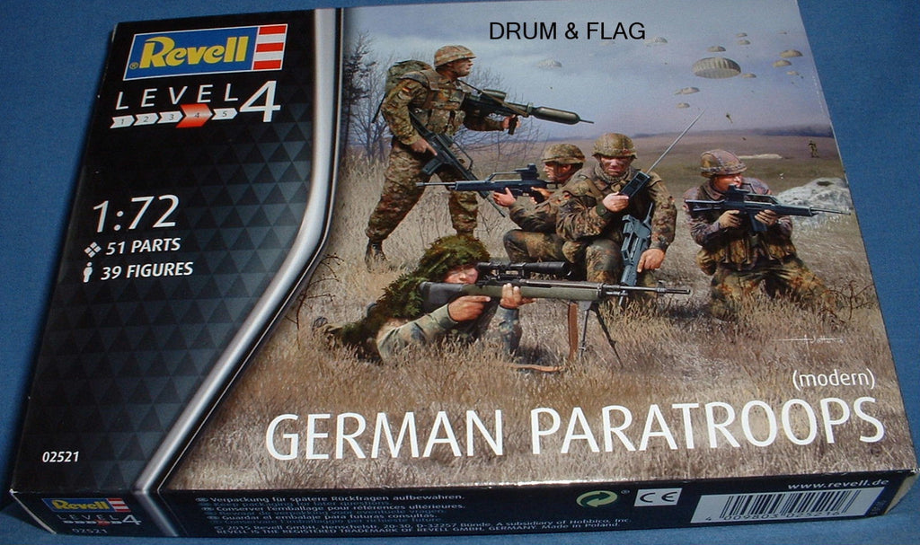 REVELL 02521. GERMAN PARATROOPS (MODERN). 1/72 SCALE. 39 FIGURES.