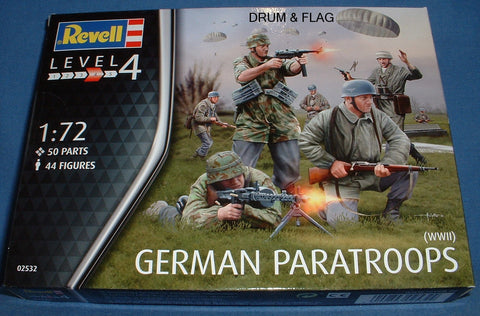 REVELL 02532. WW2 GERMAN PARATROOPS. 1/72 SCALE. 44 FIGURES.
