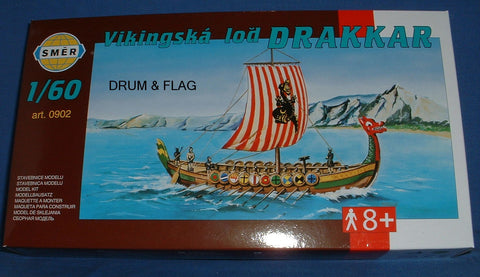 SMER 0902 - DRAKKAR - VIKING SHIP. 1:60 SCALE (c. 28mm) PLASTIC KIT. 303mm LONG