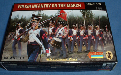 STRELETS Set 142 - POLISH INFANTRY ON THE MARCH - NAPOLEONIC WARS - 1/72 SCALE