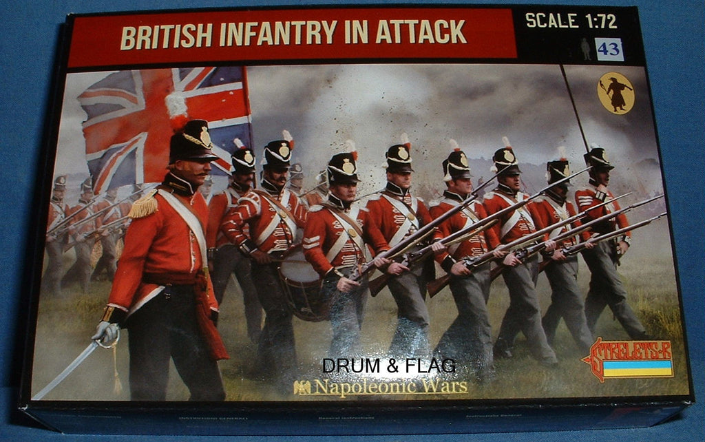 STRELETS Set 145 - BRITISH INFANTRY IN ATTACK - NAPOLEONIC WARS - 1/72 SCALE