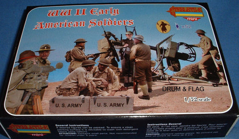 STRELETS SET M 105. WW2 EARLY AMERICAN SOLDIERS - 1/72 SCALE. 52 FIGS
