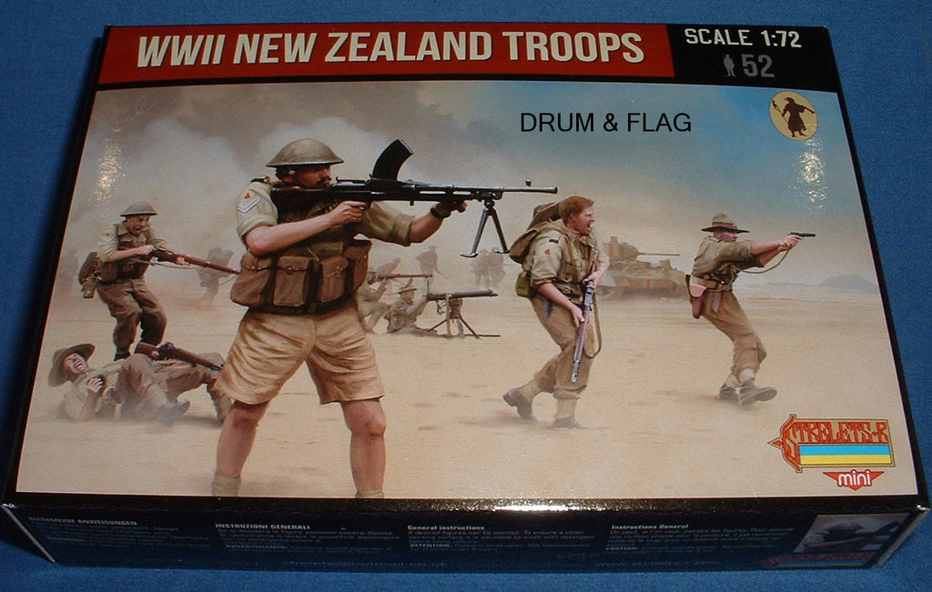 STRELETS SET M 111. WWII NEW ZEALAND TROOPS. 1/72 SCALE. 52 UNPAINTED FIGURES.