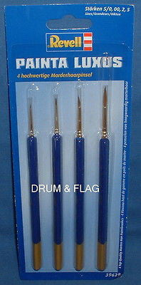 REVELL PAINTA - 4 PACK TOP QUALITY PAINT BRUSHES - MIXED SIZES. LUXUS.