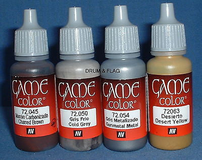 VALLEJO GAME COLOR PAINT - AMERICAN CIVIL WAR SET #1 CS - 4 x 17ml bottles. DF49