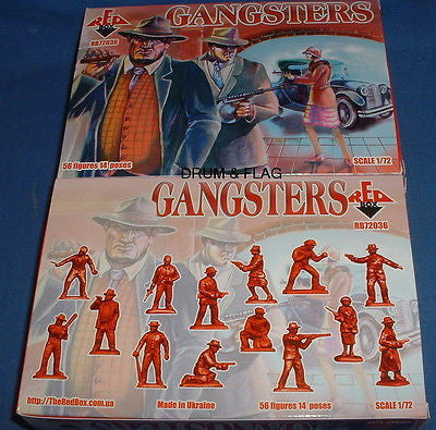 REDBOX 72036 GANGSTERS. 1920'S AMERICAN. 1/72 SCALE PLASTIC FIGURES.