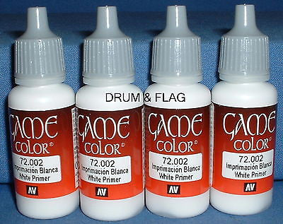 VALLEJO GAME COLOR PAINT - WHITE PRIMER (code 72.002)   4 x 17ml bottles. DF02