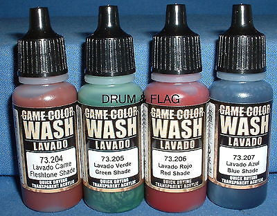 VALLEJO WASHES - 4 BOTTLE MIXED WASH PACK B - 4 x 17ml bottles. DF37. LAVADO