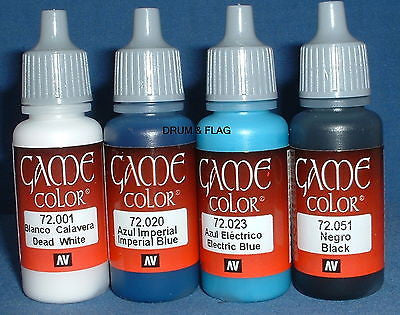 VALLEJO GAME COLOR PAINT - AMERICAN CIVIL WAR SET #2 US - 4 x 17ml bottles. DF50