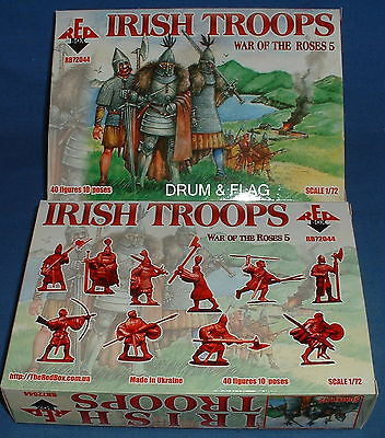 REDBOX 72044 IRISH TROOPS. WAR OF THE ROSES. 1/72 SCALE PLASTIC FIGURES
