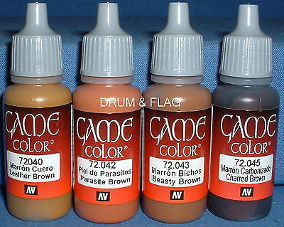 VALLEJO GAME COLOR PAINT - BROWN TONES / THE BROWNS B - 4 x 17ml bottles. DF14