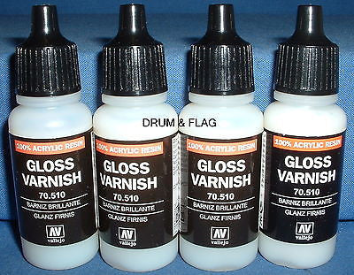 VALLEJO GLOSS VARNISH (Code 70.510) - 4 x 17ml bottles. DF40.