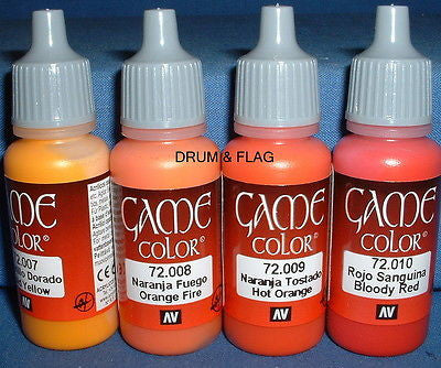VALLEJO GAME COLOR PAINT - FIRE & FLAME TONES - 4 x 17ml bottles. DF43