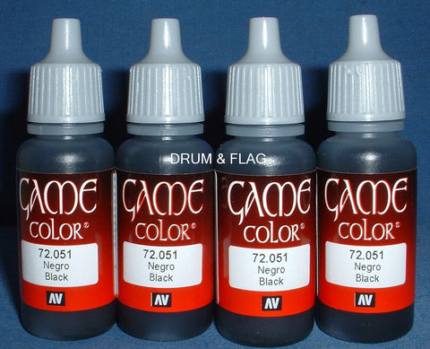 VALLEJO GAME COLOR PAINT - BLACK Code (72.051)  - 4 x 17ml bottles. DF18