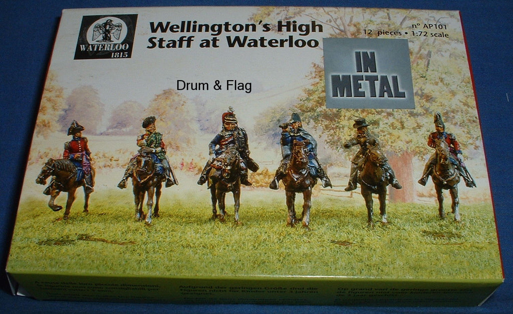 WELLINGTON'S STAFF BEFORE WATERLOO.  WATERLOO 1815 AP101.  1/72 SCALE.  6 MOUNTED METAL FIGURES.