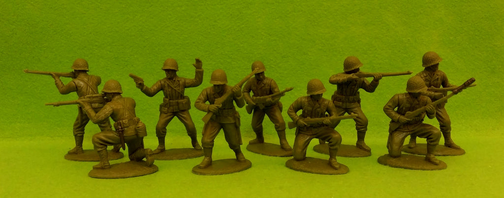 Expeditionary Force AMC02 - WW2 American Infantry - Defense Section - 60mm 1/32 Scale. Netted Helmets