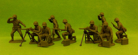 Expeditionary Force AMC03 - WW2 American Infantry - Machine-Gun Section - 60mm 1/32 Scale. Netted Helmets