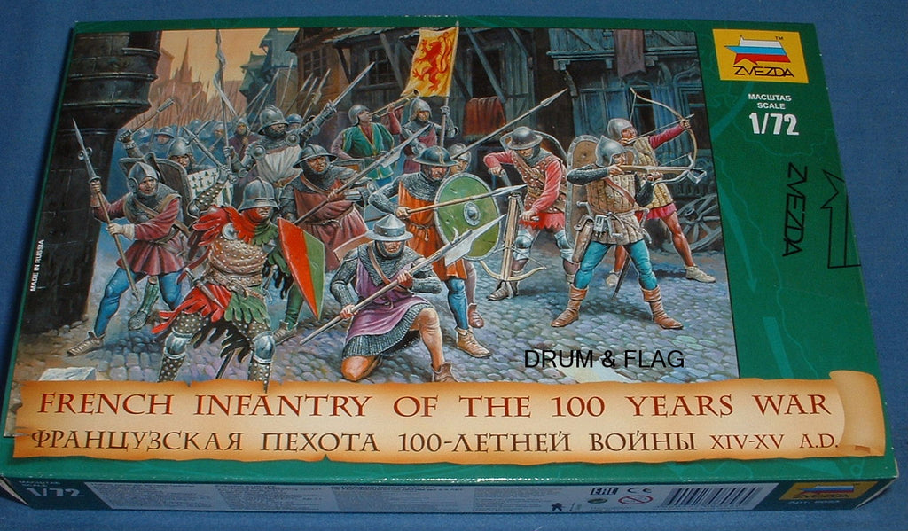 ZVEZDA 8053: FRENCH INFANTRY - HUNDRED 100 YEARS WAR. MEDIEVAL. HYW. 1:72 SCALE