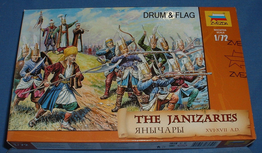 ZVEZDA 8050 TURKISH JANISSARIES. THE JANIZARIES. 1/72 SCALE UNPAINTED PLASTIC FIGURES