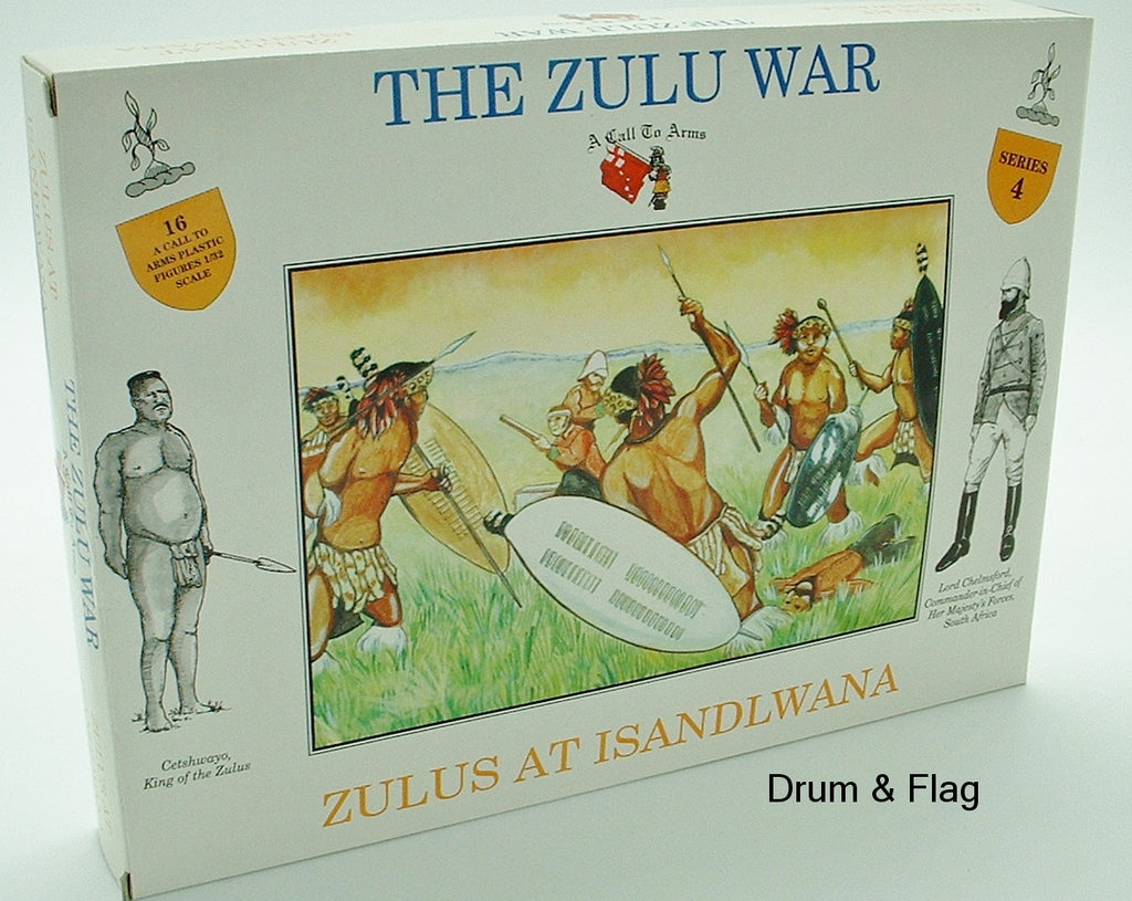 A CALL TO ARMS 4 ZULUS AT ISANDHLWANA. 1/32 SCALE. ZULU WARRIORS.