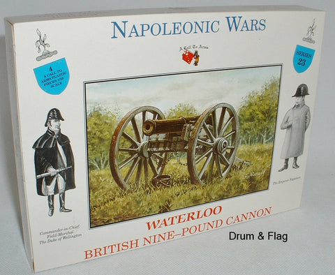 A CALL TO ARMS SET # 23. BRITISH NINE POUND CANNON. WATERLOO. 1/32 SCALE.