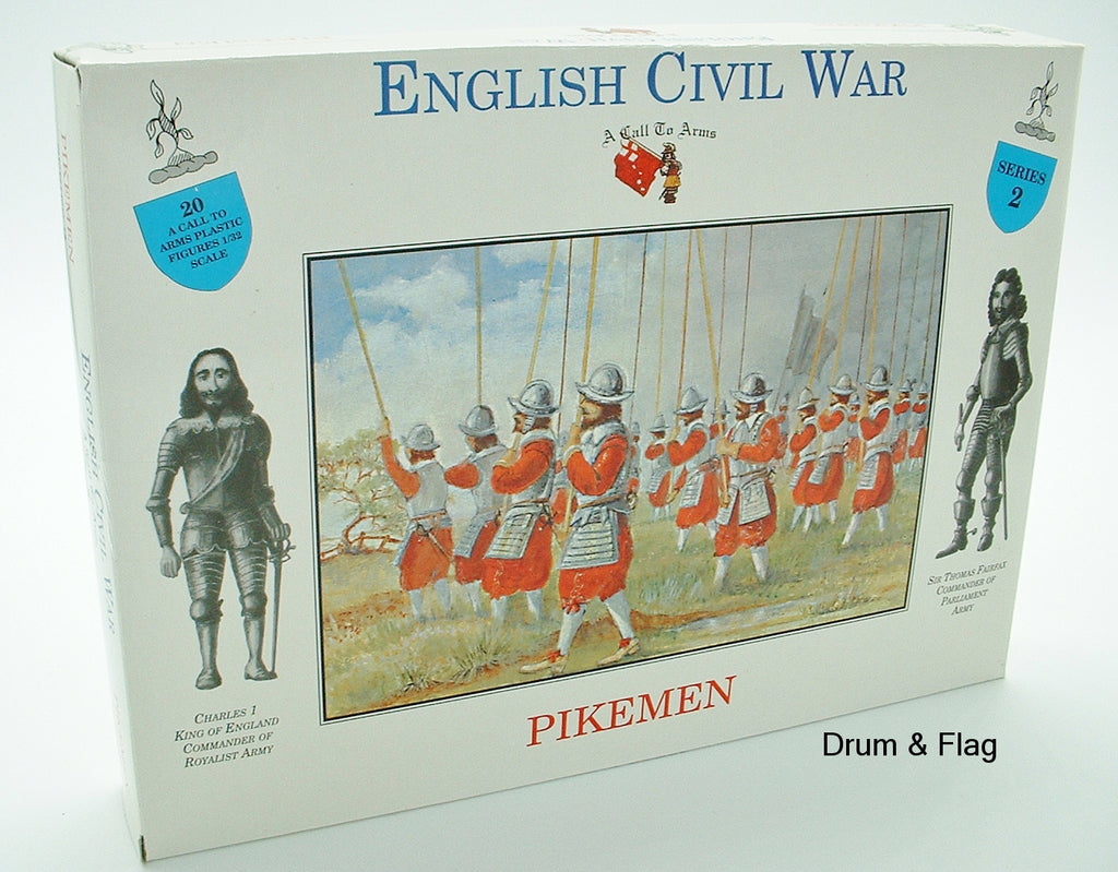 A CALL TO ARMS SET #2. ENGLISH CIVIL WAR PIKEMEN 1/32 SCALE. ROYALIST / PARLIAMENT
