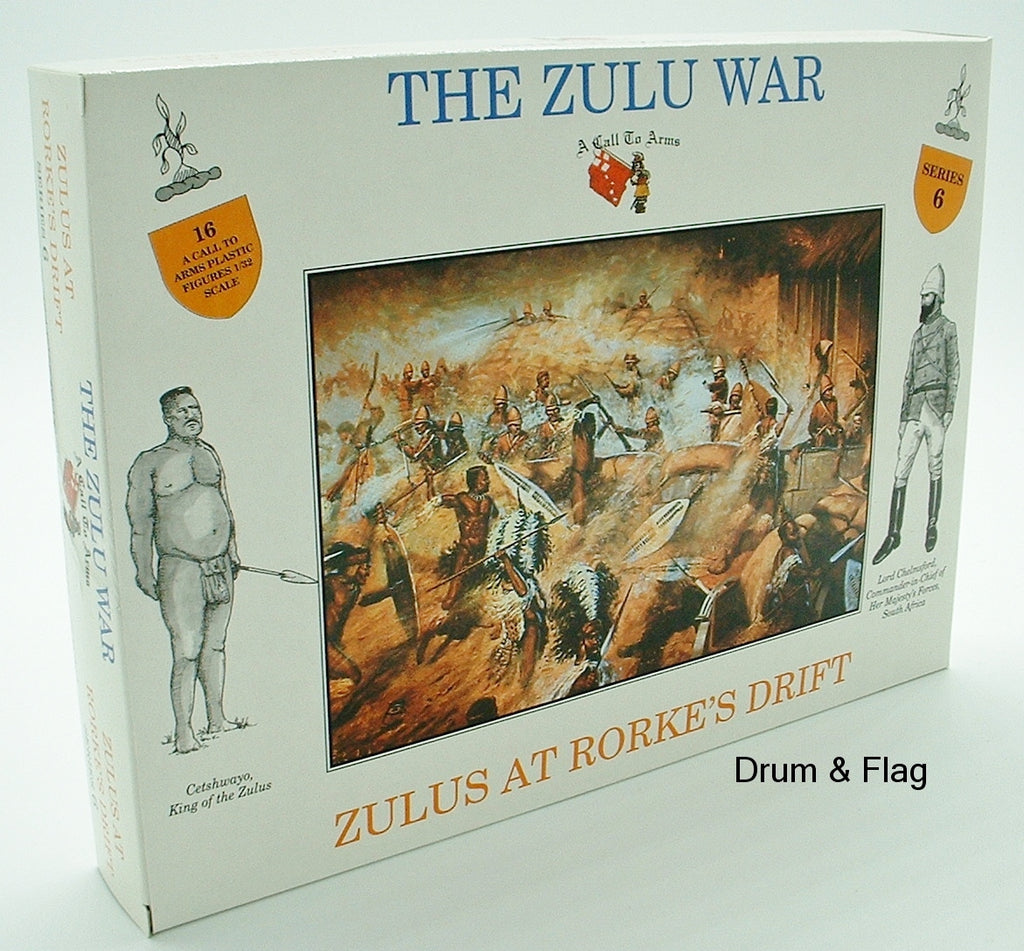 A CALL TO ARMS SET #6 - ZULUS AT RORKES DRIFT. 1/32 SCALE. ZULU WARRIORS