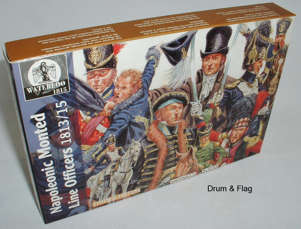 WATERLOO 1815 AP028 NAPOLEONIC MOUNTED LINE OFFICERS 1813-15. 1/72 SCALE
