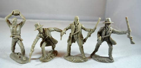 TSSD - ALAMO TEXANS HAND TO HAND COMBAT. 60mm Unpainted Plastic. 8 FIGURE SET.