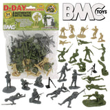 BMC Toys D-DAY Bagged Figure set WW2 Germans, British & American Soldiers 1/32 Scale 54mm