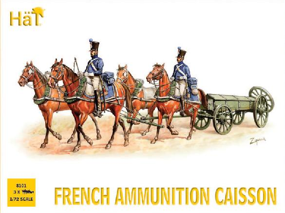 HAT 8101 NAPOLEONIC FRENCH AMMUNITION CAISSON.  1/72 SCALE UNPAINTED PLASTIC.