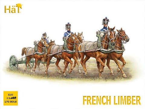 HAT 8105 NAPOLEONIC FRENCH 6 HORSE LIMBER TEAM.  1/72 SCALE UNPAINTED PLASTIC.
