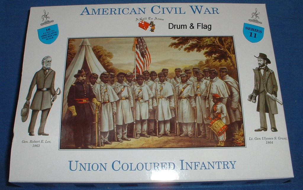 A CALL TO ARMS #11 UNION COLOURED / COLORED INFANTRY 1/32 SCALE CIVIL WAR INFANTRY - UNPAINTED