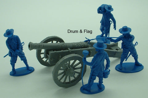 A Call to Arms English Civil War Cannon & 4 Crew Figures. 1/32 Scale. Bagged Custom Set.