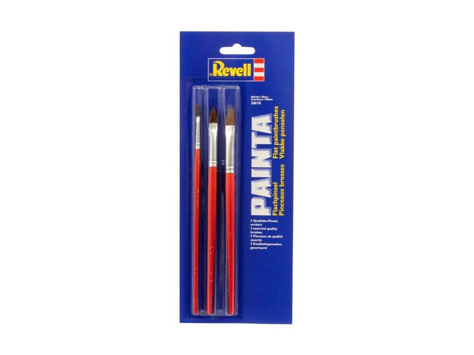 REVELL PAINTA FLAT PAINT BRUSH X 3 BRUSHES SET - PINCEAUX BROSSES