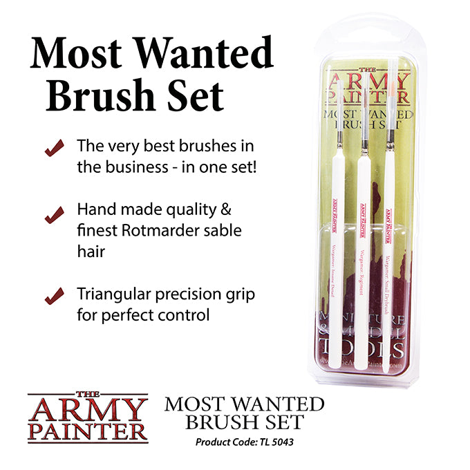 The ARMY PAINTER MOST WANTED BRUSH SET. 3 different brushes included in pack.