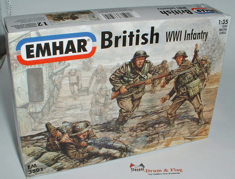EMHAR 3501. British WW1 Infantry 12 x 1:35 Scale Figures